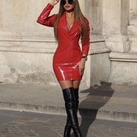 Nella Spicy Red Vegan Leather Sexy Dress