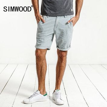 SIMWOOD 2017  New Summer New Denim Shorts  Men Striped 100% Pure Cotton Slim Fit Vintage Knee Length Brand Clothing ND017012