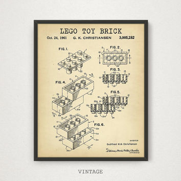 LEGO Toy Brick Patent Printable, Lego Poster, Kids Room Wall Art, Lego Toys Building Brick Print, Nursery Decor, Blueprint Digital Download