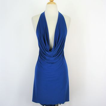 Royal Blue Draped Backless Jersey Knit HiLo Salsa Cocktail Dress S