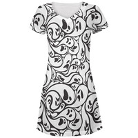 Halloween Ghosts & Ghouls All Over Juniors V-Neck Dress