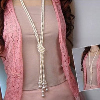 ELITE Style Long Knotted Multi Simulated Pearl Necklace Women Fashion Chain Accessories Jewelry