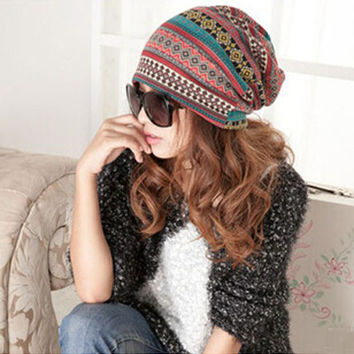 Winter Women Knitted Hats Thickening Woolen Hat Warm Scarf Hat High Quality Earflap Hat Crochet Wool Beanie  ZW66