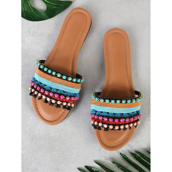 Multi Tone Embellished Strappy Thong Sandal BLACK