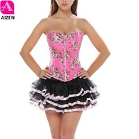 AIZEN Women Zip Corsets Dress With Skirt TuTu Set Dress up Costumes Cheap Adjustable Flower Print Overbust Bustier Pink Victoria