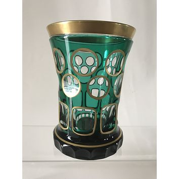 623051 Emerald Green with gold trim over crystal Bohemian Friendship Glass