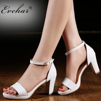 Women Sandals Chunky Heel Platform Sandals Womens Shoes High Heel Summer Sandals Wedding Shoes Ladies Red Black White Size 34-43