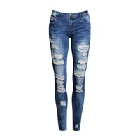 Womens Jeans Hole Stretch Cotton Ripped Jeans Skinny Jeans