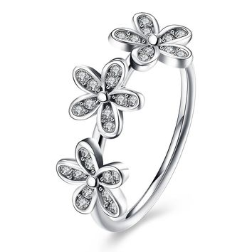 dc0a27ba5 Sterling Silver Pandora Inspired Triple Flower Ring