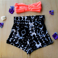 High Waisted IKAT Shorts Black Spandex Beach Babe Pin up style native tribal style bathing suit