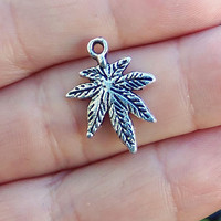 5 Pot Leaf charms cannabis weed hemp reefer 420 mary jane hippie hippy marijuana leaf charm ~ F285