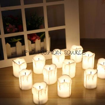 12Pcs/Box Warm White Flameless LED Electric Battery Powered Tealight Candles  Big Votive Candles