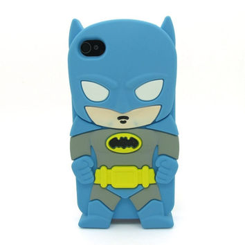 Universal Trading Superheroes & Superman series Design Cartoon Silicone case For Iphone 5C(Batman Blue) = 1946432900