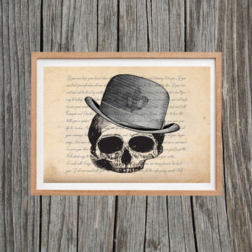 Vintage Skull Print Poem Poster Antique Wall Art
