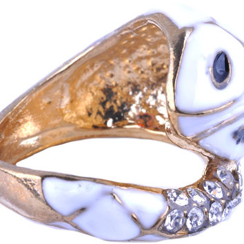 Gold Plated White Snake with Rhinestone Ring RUR0000191