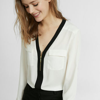 Piped Long Sleeve Zip Front Blouse