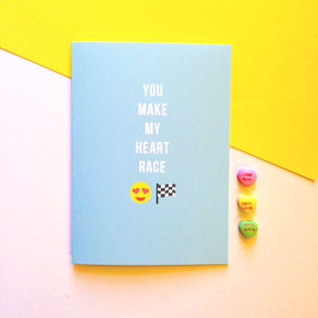 Emoji Valentine's Day Card - You Make My Heart Race -  Cute Fun Modern Funny - 5x7