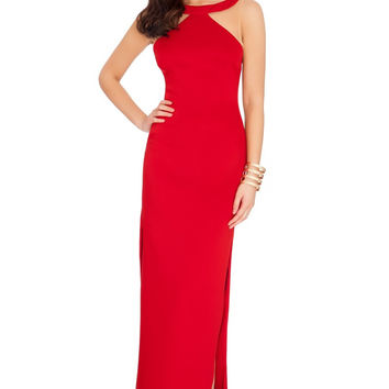 Red Halter Bodycon Maxi Dress with Slit