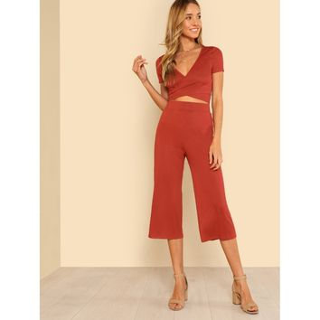 Rust Self Tie Surplice Top With Palazzo Pants