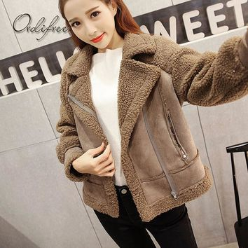 Ordifree 2017 Autumn Winter Women Parka Jacket Coat Outwear Faux Fur Jacket Lambswool Thick Warm Suede Jacket