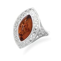 Baltic Amber Scroll Design Ring