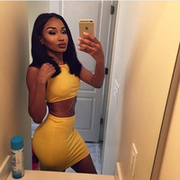 Yellow Sleeveless Crop Top and Skirt