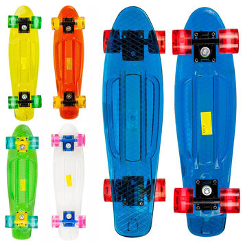 Led Clear Penny Style 22 inch Plastic Cruiser Skateboard Complete