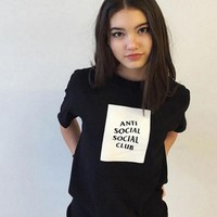 """Anti Social Social Club"" Trending Women Men Loose Letter Print Summer Cotton Short Sleeve T-Shirt Top"