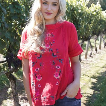 Mana Embroidered Top, Red