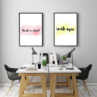 "PRINTABLE ART - Double Poster "" Heart vs Mind"" & Smile More"