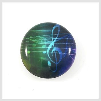 Painted Enamel Music G Clef Notes 20mm 3/4""