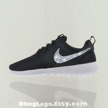 Nike Roshe Run Black With Swarovski Crysral Rhinestones - Blibg Nikes, Bling Shoes, Bl
