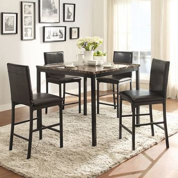 HomeVance Catania 5-piece Dining Table & Counter Chair Set (Black/Marble)