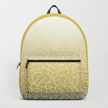 Ombre yellow and white swirls doodles Backpack by Savousepate