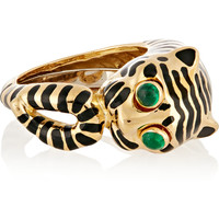 David Webb - Tiger 18-karat gold, emerald and enamel ring