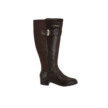 Isaac Mizrahi Live! Medium Calf Leather Riding Boots - Dark Brown