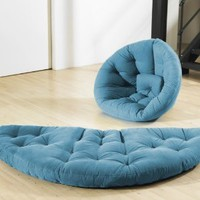Fresh Futon Nest Convertible Futon Chair/Bed, Horizon Blue Mattress