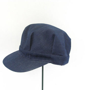Vintage denim Train Engineer Farmer Cap Hat / size large