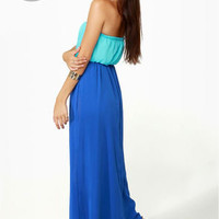 Who's Who Aqua and Royal Blue Maxi Dress