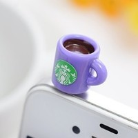 Dust Plug- Earphone Jack Accessories Lovely Starbucks Purple Coffee Cup Style/ Cell Charms / Ear Jack for Iphone 4 4s / Ipad / Ipod Touch / Other 3.5mm Ear Jack-FREE Shipping From USA