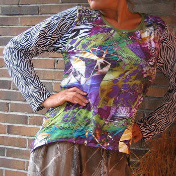 TALL SIZE extra long Sleeves Zebra-Jungle SHIRT xl xxl 2xl 18 20 - Colorful Casual Leisure Time Clothing - unique ooak tallhappycolors