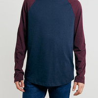 NAVY/BURGUNDY CONTRAST RAGLAN LONGSLEEVE T-SHIRT - Holiday Offer - 30% Off Essential Tops - Clothing