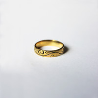 Band Ring Carved Swirl