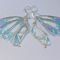 fantasy jewelry Fairy Wing Earrings fairy wings by TheSilverBranch