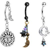Celestial Dreams Dangle Belly Ring 3 Pack MADE WITH SWAROVSKI ELEMENTS | Body Candy Body Jewelry
