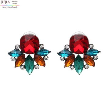 JUJIA Hot sale simple small full crystal earring Statement Trendy Jewelry Shiny crystal Stud Earrings for women Wholesale