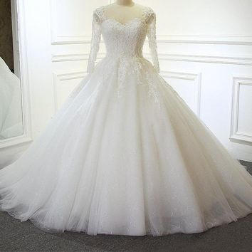 Luxury Full Beading Wedding Dresses Dubai Straps Wedding Dress