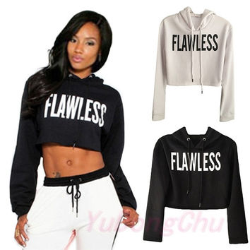 Casual Premier Creabygirls Womens Sexy Letter Printed Crop Hoodie Pullover Sweatshirt = 5699037633
