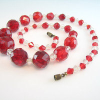 Art Deco Crystal Necklace Faceted Red & Clear Beads 1930s Vintage Jewelry