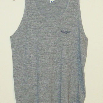 Vintage 80's RAYON Heather Gray Athletic Club Tri-Blend TANK Top - Size LARGE